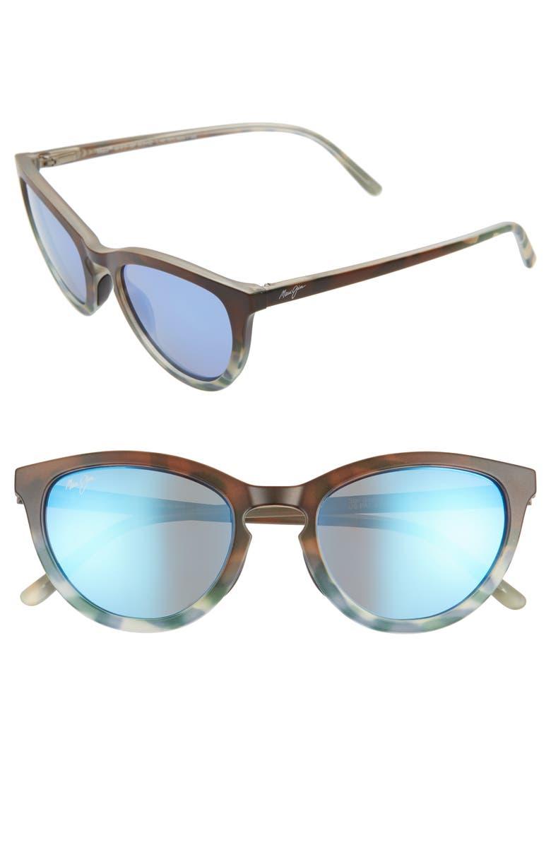 MAUI JIM Star Gazing 50mm PolarizedPlus2<sup>®</sup> Cat Eye Sunglasses, Main, color, MATTE BROWN/ BLUE TOKYO