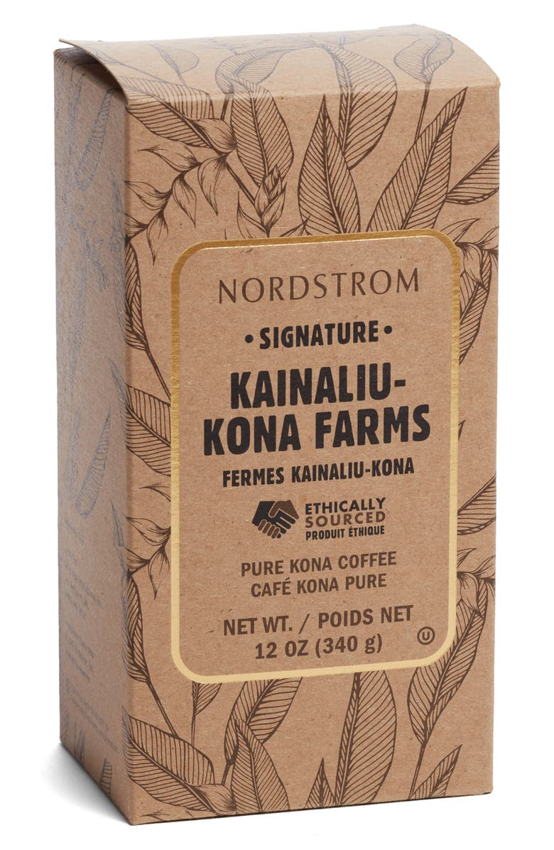 NORDSTROM Signature Kainaliu Kona Farms 100% Kona Whole Bean Coffee, Main, color, BROWN