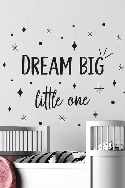 Image of WalPlus Dream Big Little One Quote Wall Decor - Black