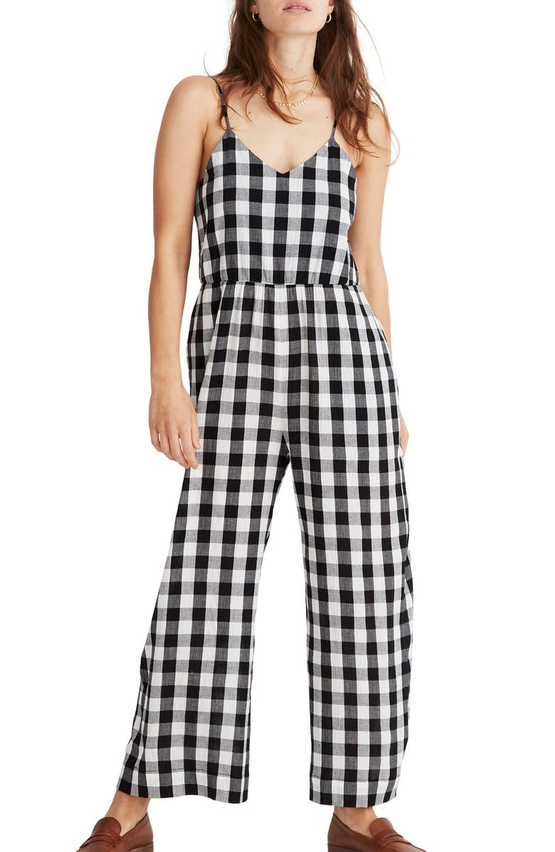 MADEWELL Gingham Check Cami Wide Leg Jumpsuit, Main, color, TRUE BLACK TWO SIZE GINGHAM