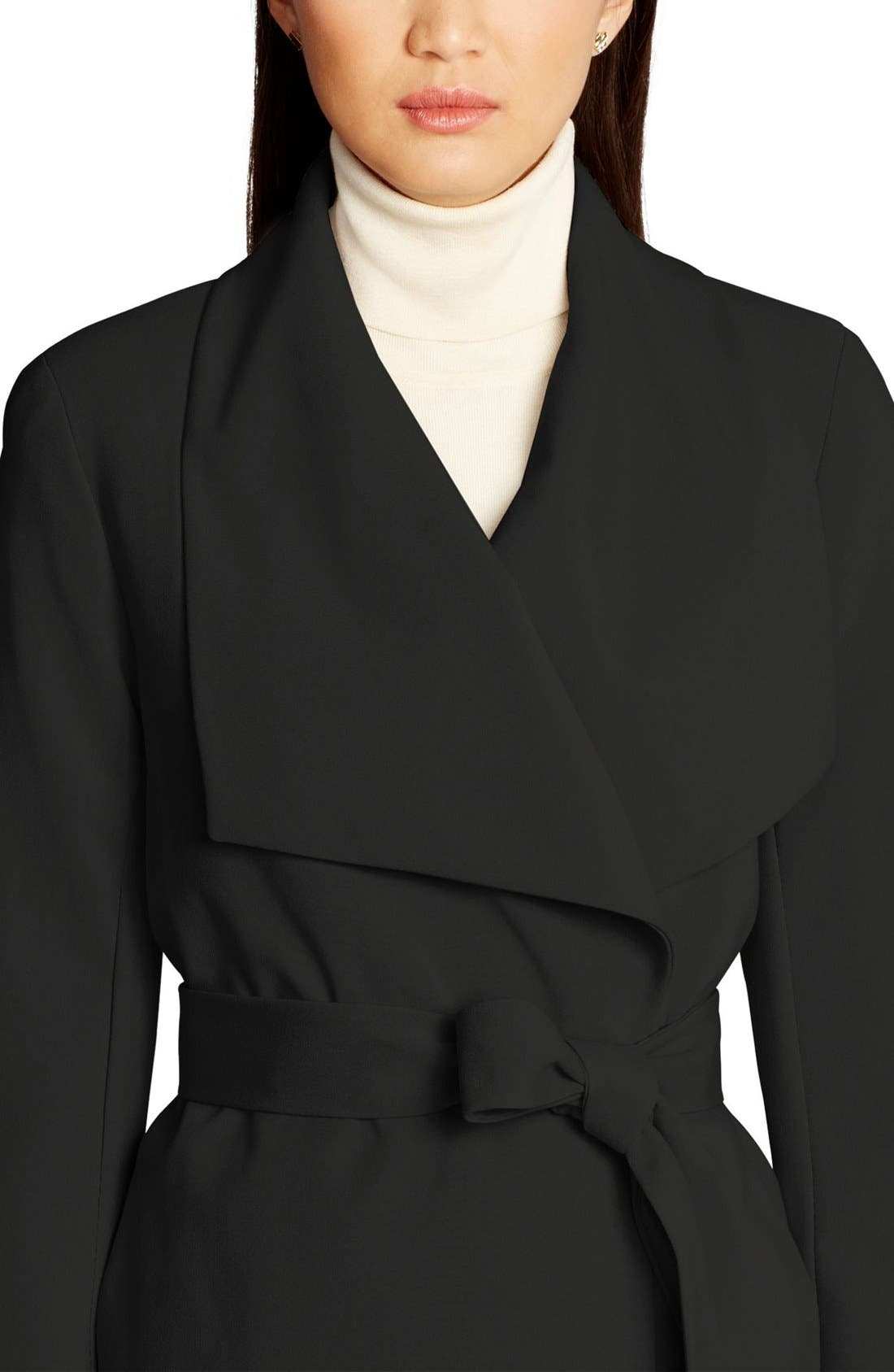 ,                             Belted Drape Front Coat,                             Alternate thumbnail 41, color,                             001