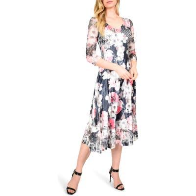 Komarov Floral Charmeuse & Chiffon Midi Dress, Pink