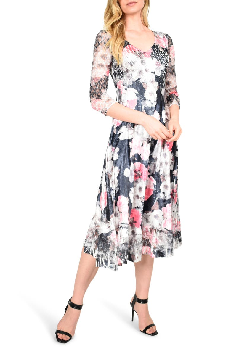 KOMAROV Floral Charmeuse & Chiffon Midi Dress, Main, color, DARK PRIMROSE