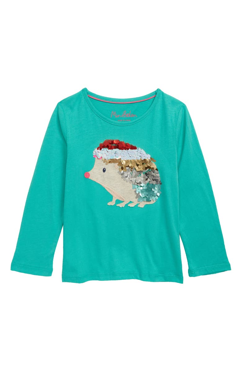 MINI BODEN Animal Appliqué Sequin Tee, Main, color, GRN ASPARAGUS GREEN HEDGEHOG