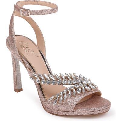 Jewel Badgley Mischka Kaira Crystal Embellished Ankle Strap Sandal- Pink