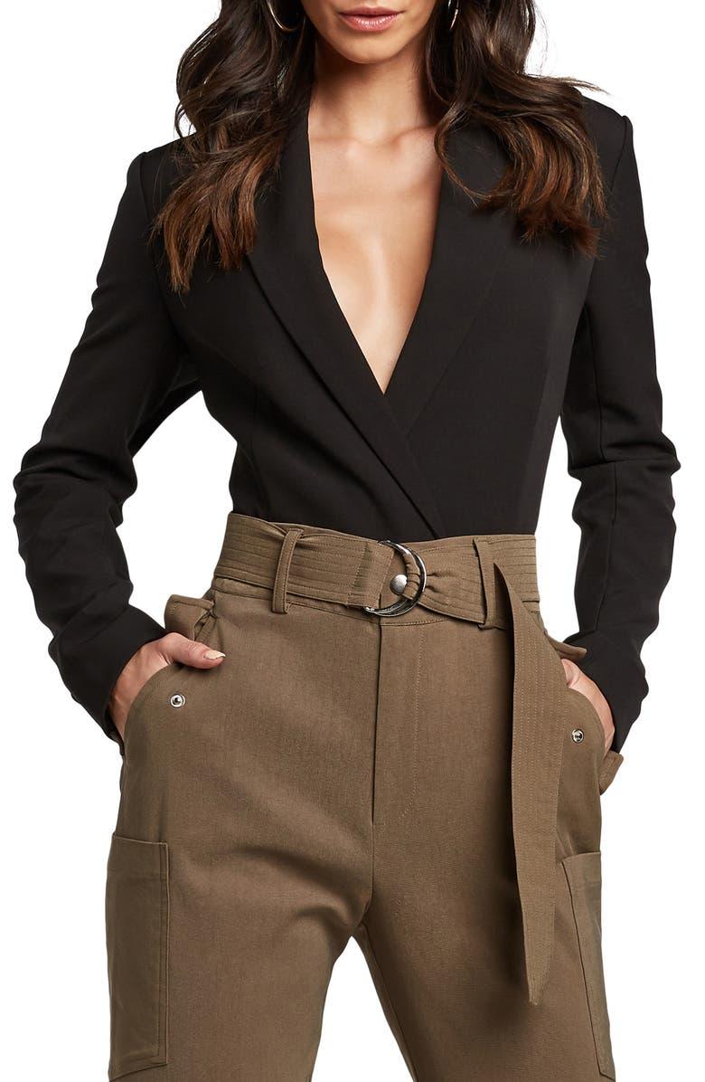 BARDOT Blazer Bodysuit, Main, color, BLACK