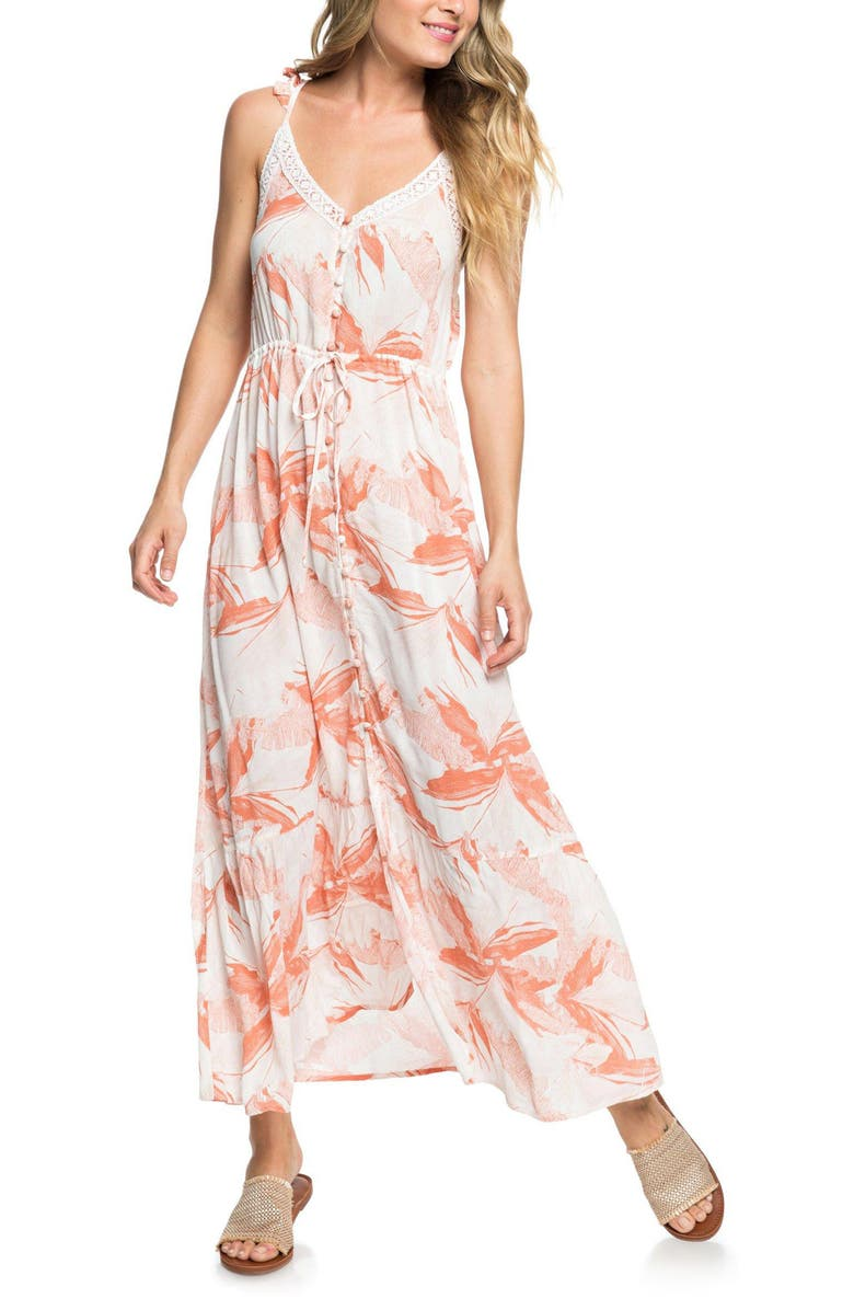 ROXY Hot Summer Lands Print Maxi Dress, Main, color, 900