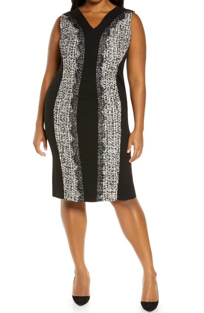 Marina Rinaldi DIPLOMA FITTED TWEED DRESS WITH DETACHABLE SLEEVES