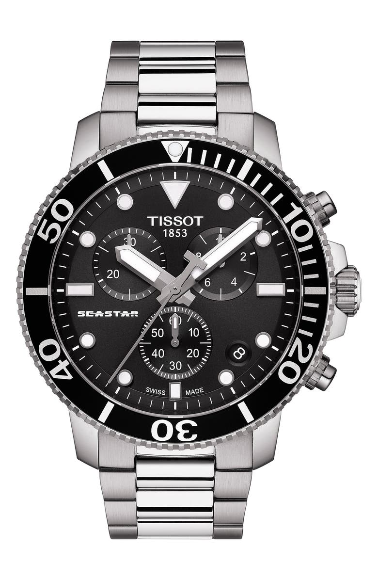 TISSOT Seastar 1000 Chronograph Bracelet Watch, 45.5mm, Main, color, SILVER/ BLACK/ SILVER
