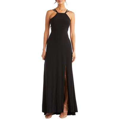 Morgan & Co. Strappy Back Gown, Black