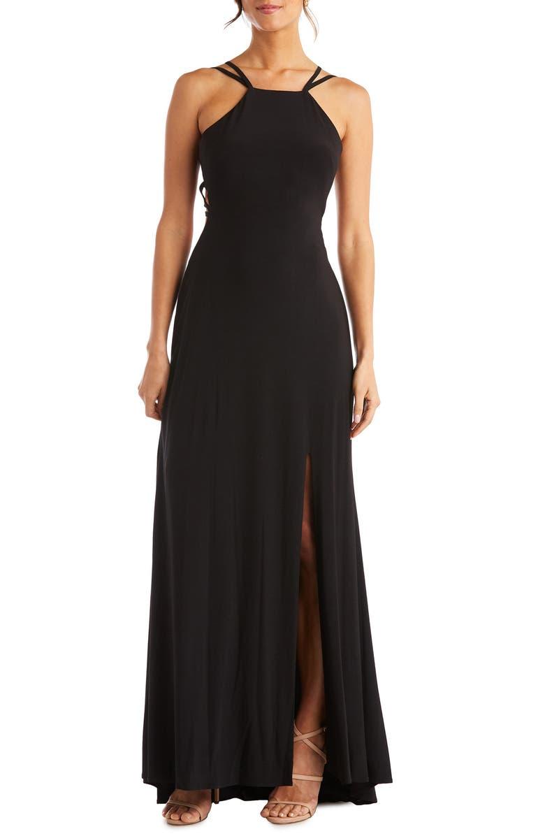 MORGAN & CO. Strappy Back Gown, Main, color, BLACK