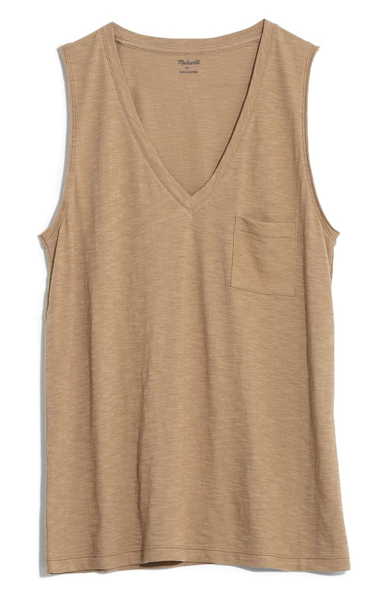 MADEWELL Whisper Cotton V-Neck Tank, Main, color, 250