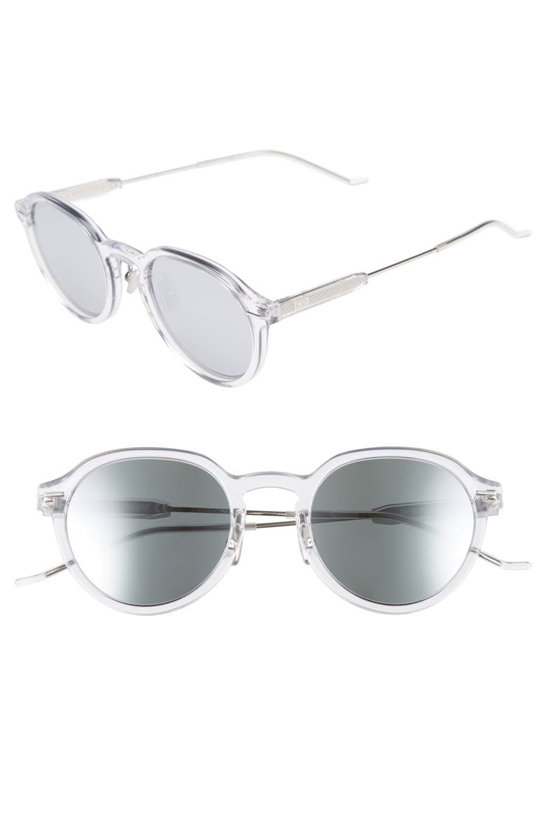 DIOR Motion 2 50mm Sunglasses, Main, color, CRYSTAL/ SILVER MIRROR