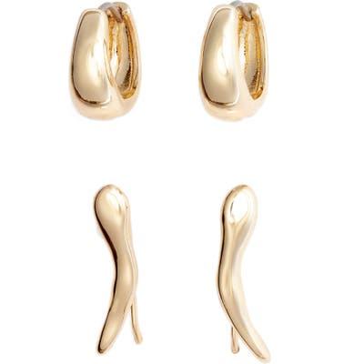 Halogen Set Of 2 Huggie Hoop & Ear Crawler Earrings