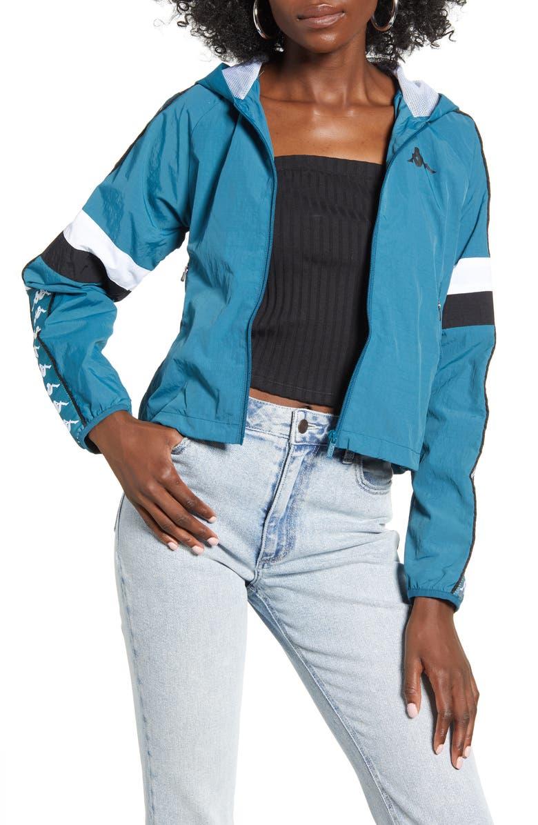 KAPPA 222 Banda Bellanta Hooded Jacket, Main, color, BLUE PETROL/ WHITE/ BLACK