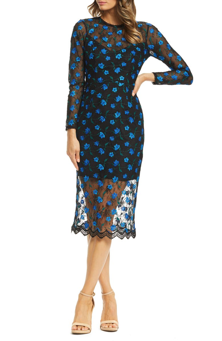 DRESS THE POPULATION Sophia Embroidered Lace Midi Dress, Main, color, 001