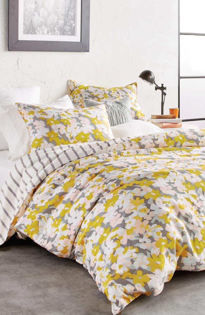 DKNY Cutout Floral Comforter & Sham Set, Main, color, SUNSHINE