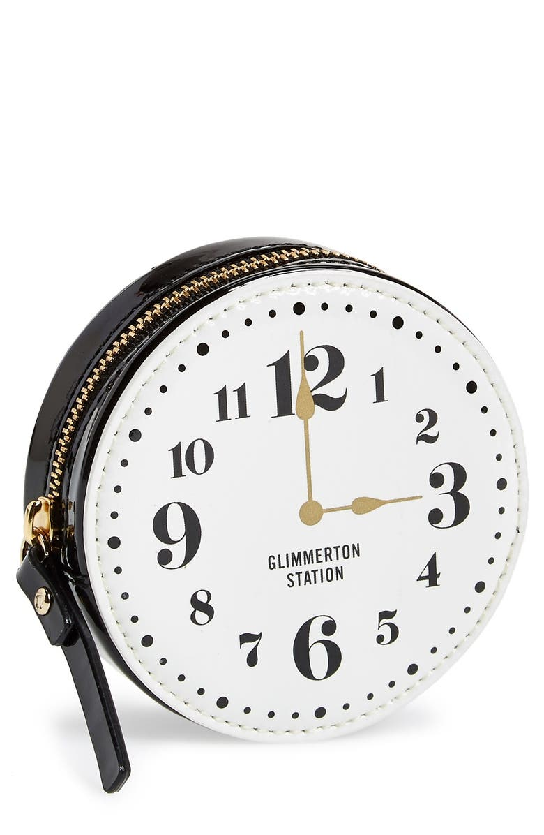 KATE SPADE NEW YORK 'all aboard - clock' coin purse, Main, color, 001