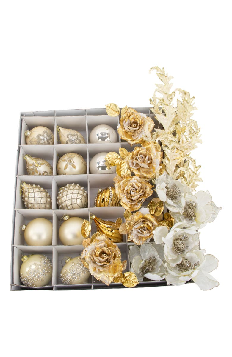 MARK ROBERTS Set of 30 Blush/Gold Ornaments & Faux Floral Stems, Main, color, BEIGE MULTI
