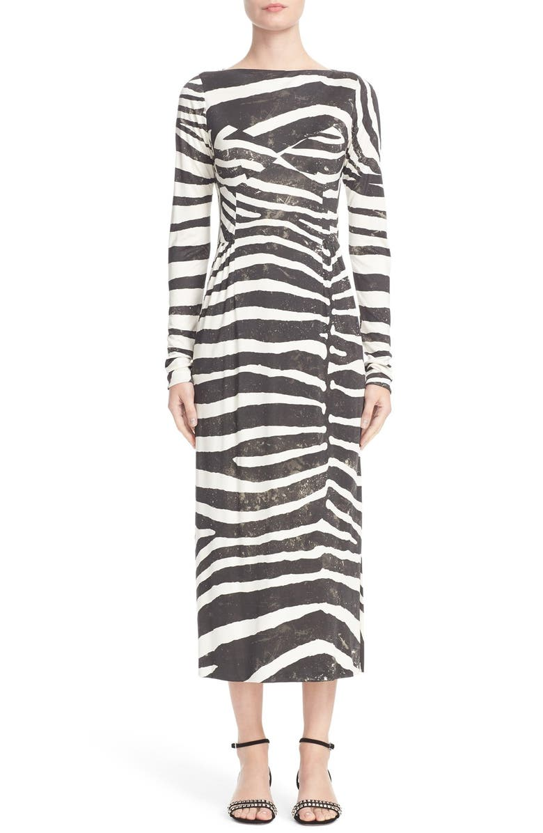 MARC JACOBS Zebra Print Jersey Dress, Main, color, 001