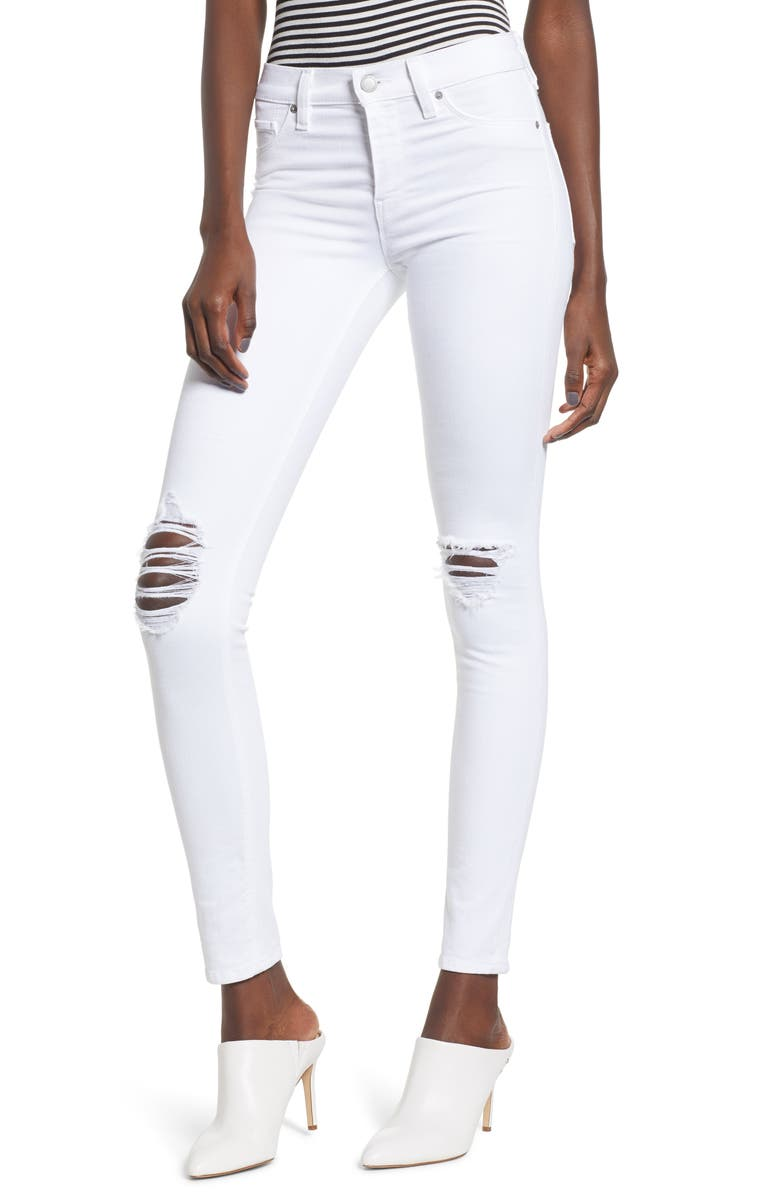 HUDSON JEANS Nico Ankle Skinny Jeans, Main, color, WHITE RAPIDS