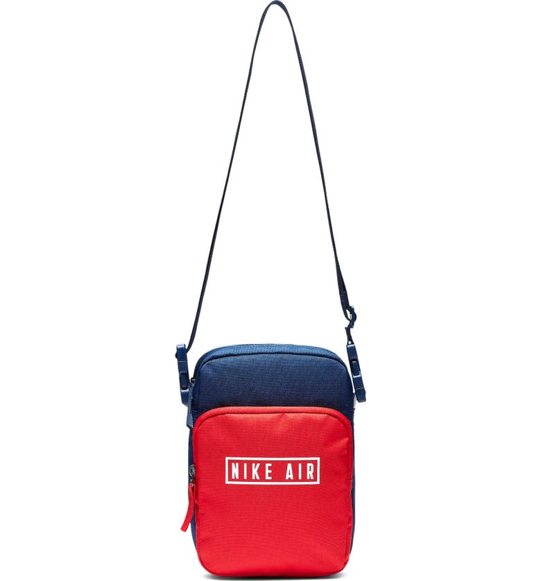 NIKE Air Heritage 2.0 Colorblock Canvas Crossbody Bag, Main, color, BLUE VOID/ UNIVERSITY RED