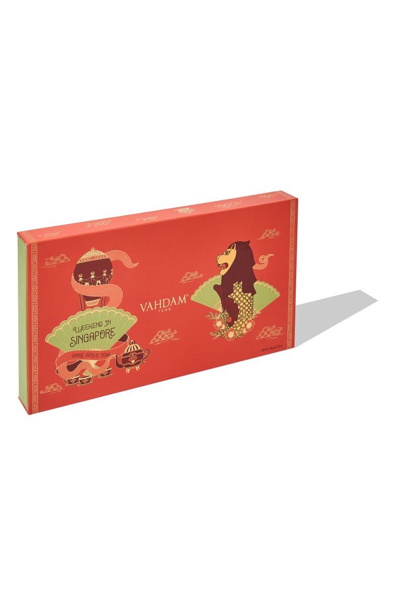 VAHDAM TEAS Weekend in Singapore Set of 8 Loose Leaf Teas, Main, color, LIGHT RED