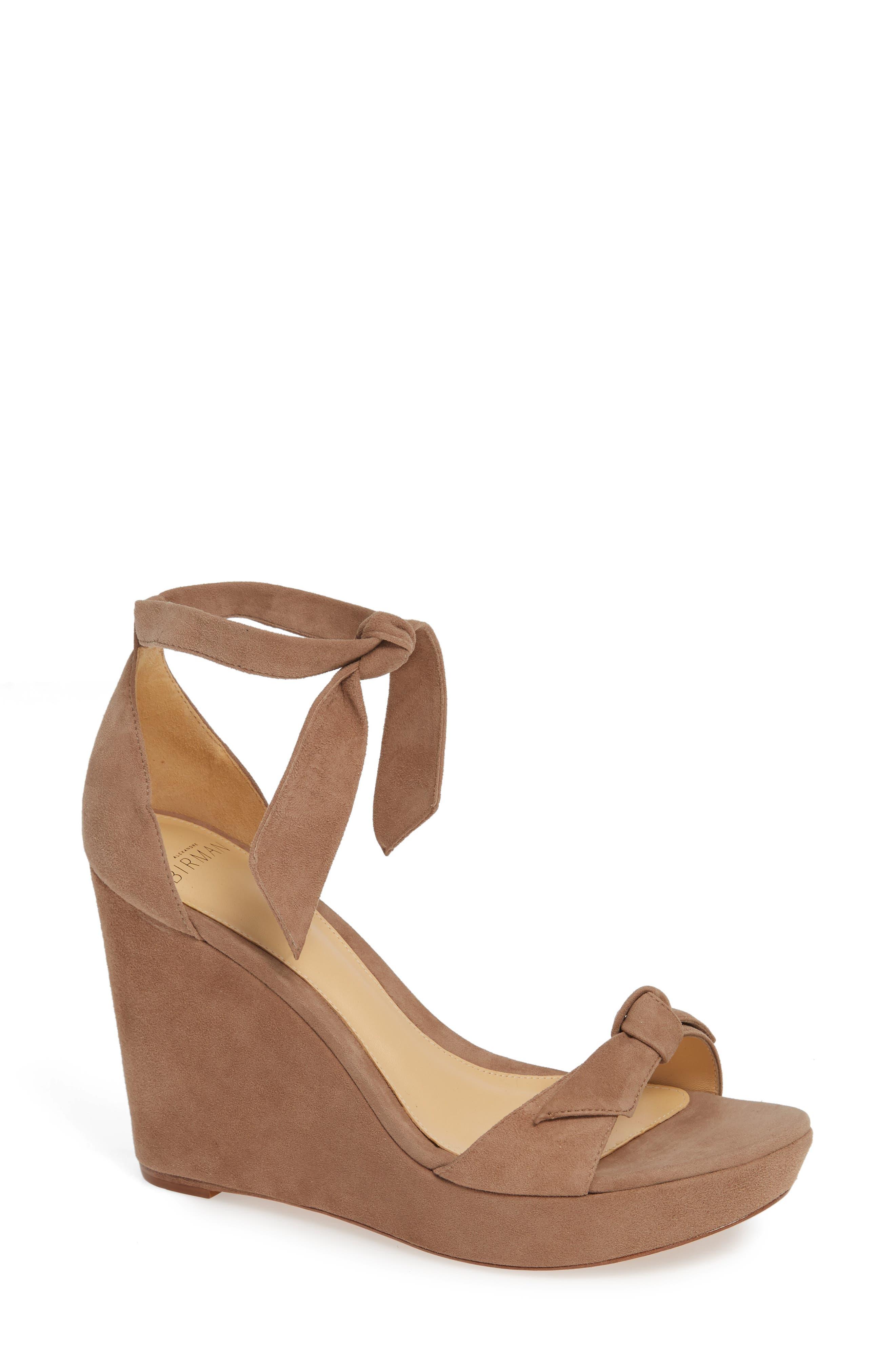 Alexandre Birman Clarita Platform Wedge Sandal, Beige