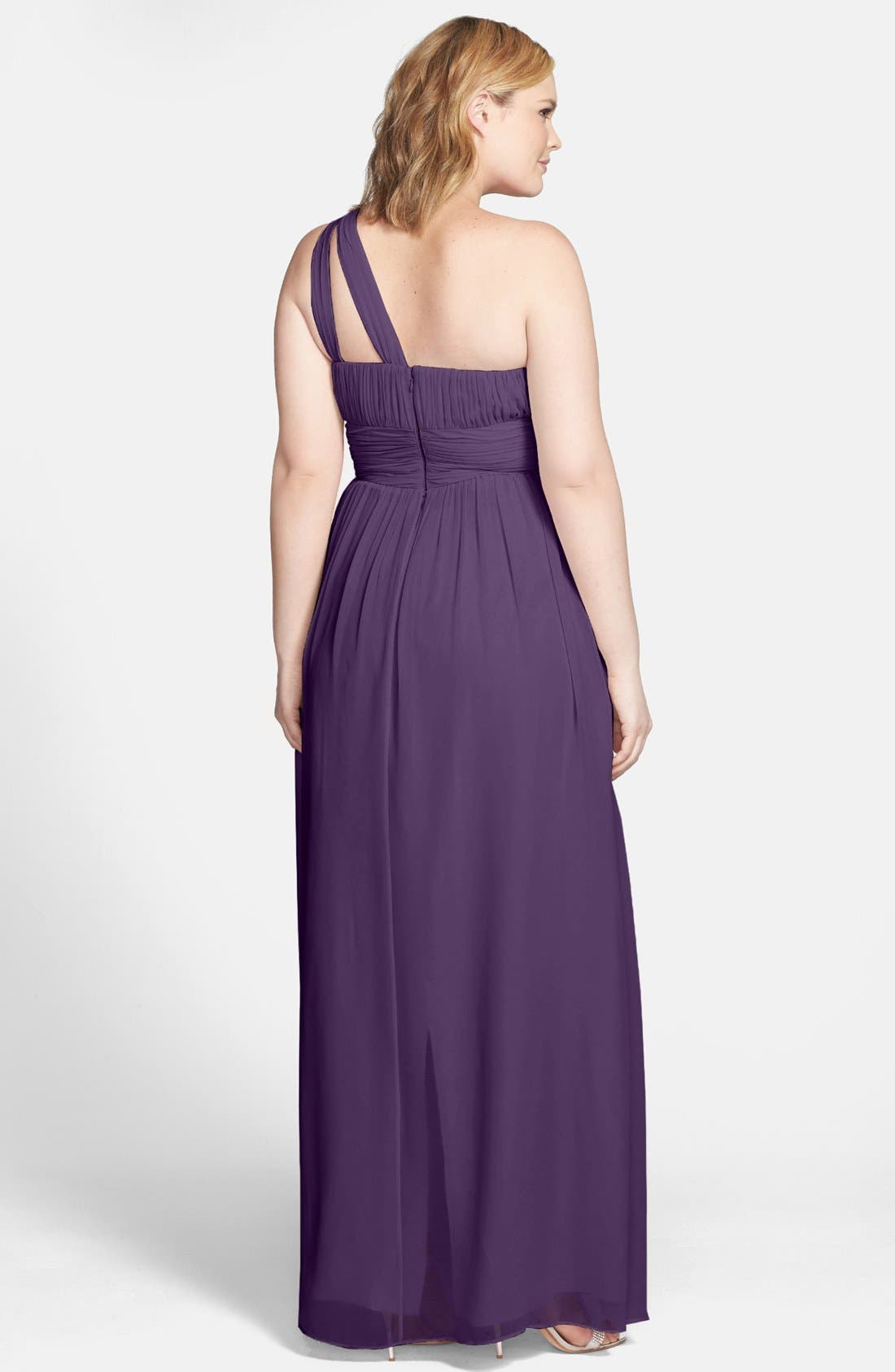 ,                             'Rachel' Ruched One-Shoulder Chiffon Gown,                             Alternate thumbnail 81, color,                             513