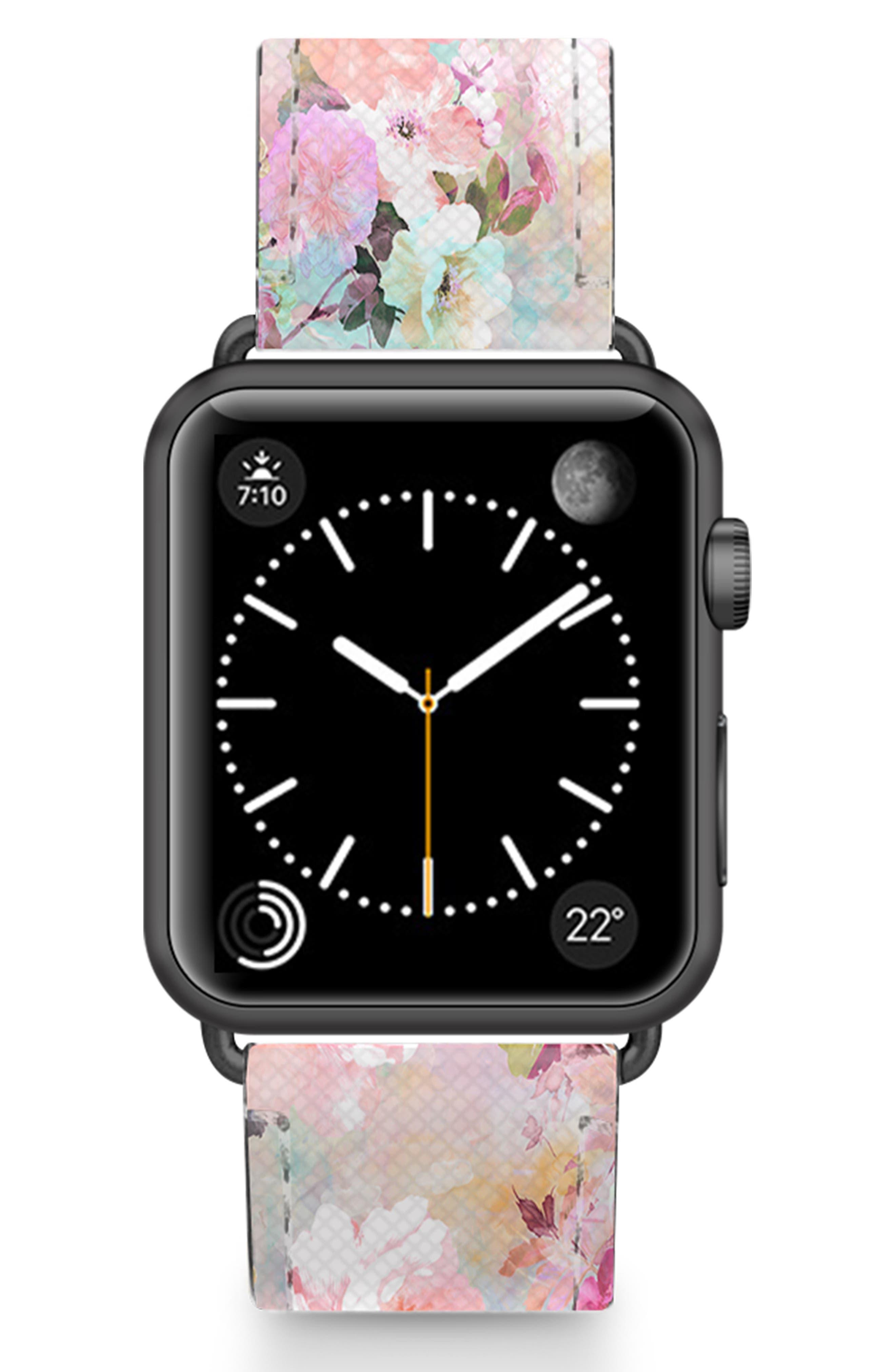 Romantic Watercolor Flowers Saffiano Faux Leather Apple Watch Strap