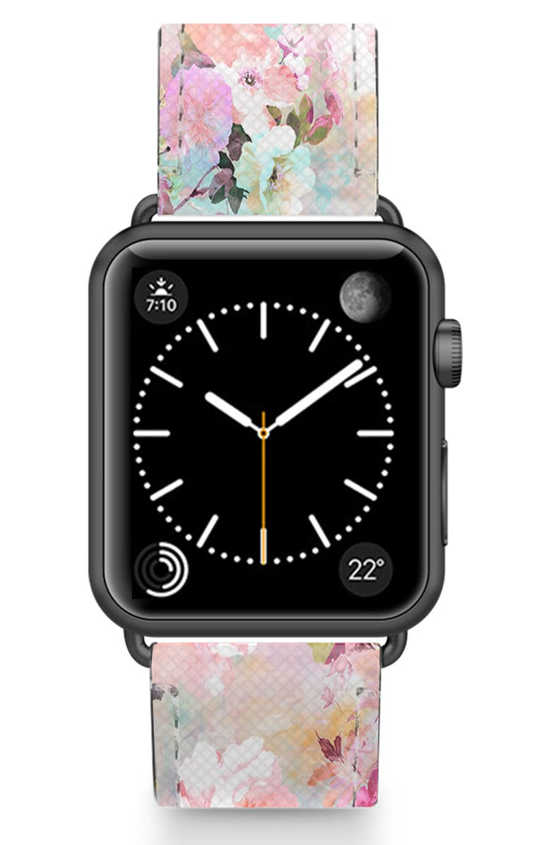 CASETIFY Romantic Watercolor Flowers Saffiano Faux Leather Apple Watch<sup>®</sup> Strap, Main, color, PINK/ BLACK