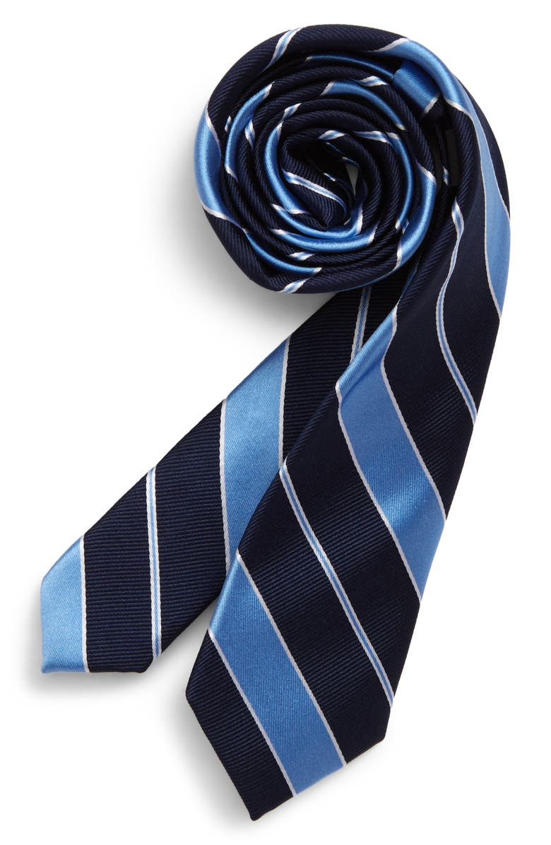 NORDSTROM Harvey Stripe Silk Tie, Main, color, BLUE