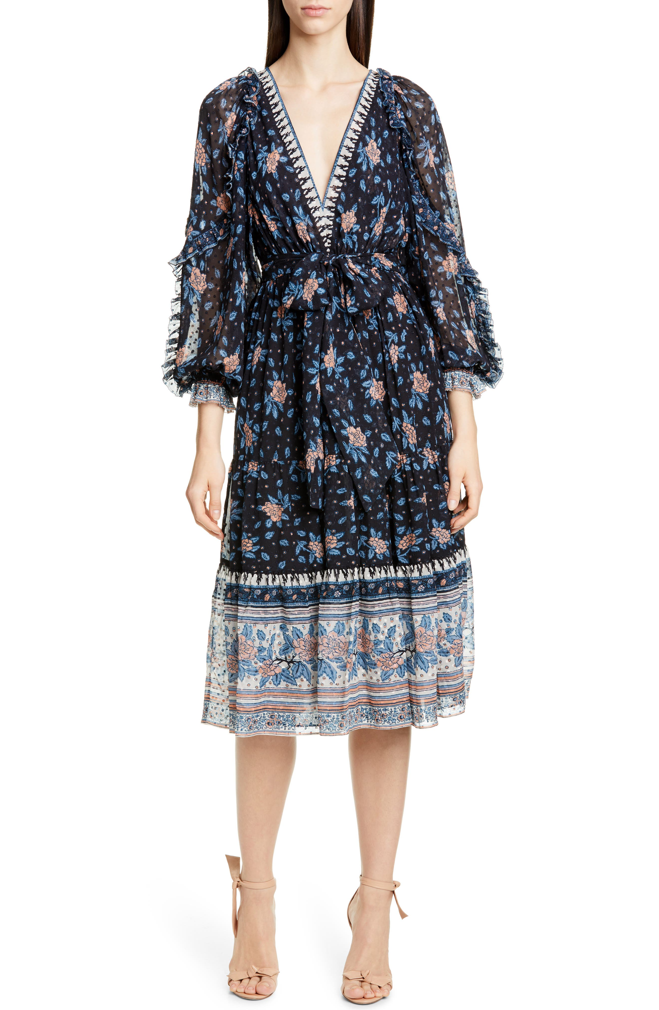 Ulla Johnson Romilly Silk Blend Jacquard Midi Dress, Black
