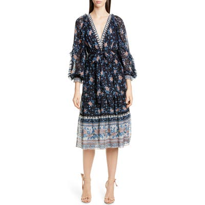 Ulla Johnson Romilly Silk Blend Jacquard Midi Dress, Black