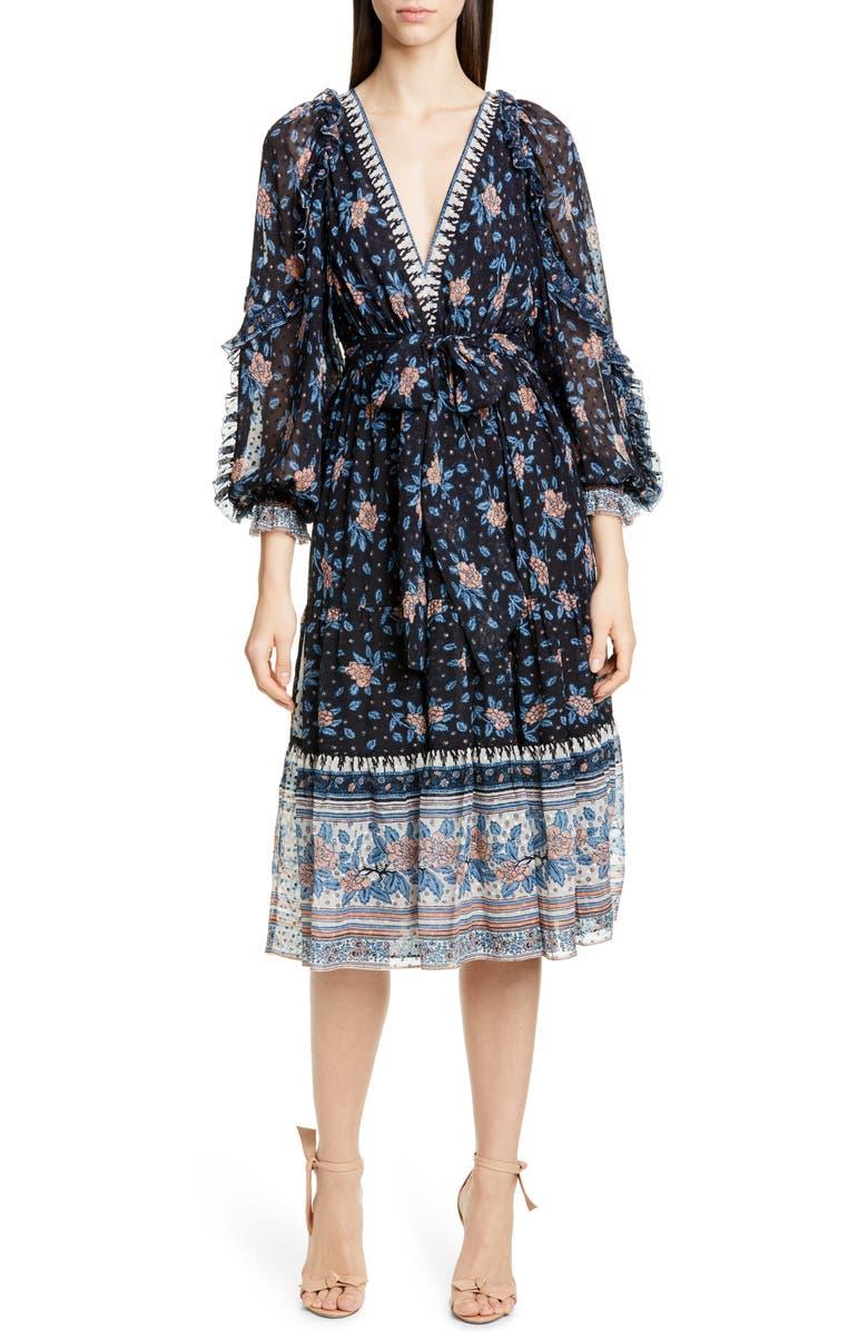 ULLA JOHNSON Romilly Silk Blend Jacquard Midi Dress, Main, color, NOIR