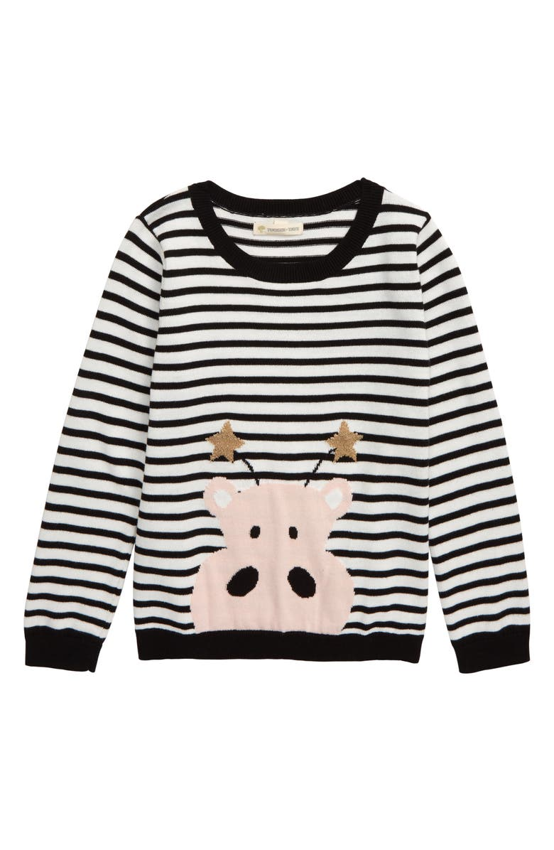TUCKER + TATE Sparkle Icon Sweater, Main, color, BLACK- IVORY HIPPO STRIPE