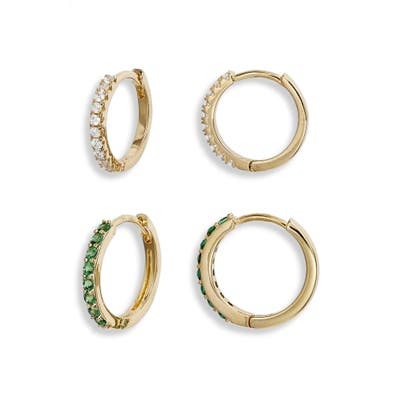 Nordstrom Set Of 2 Pave Huggie Hoop Earrings