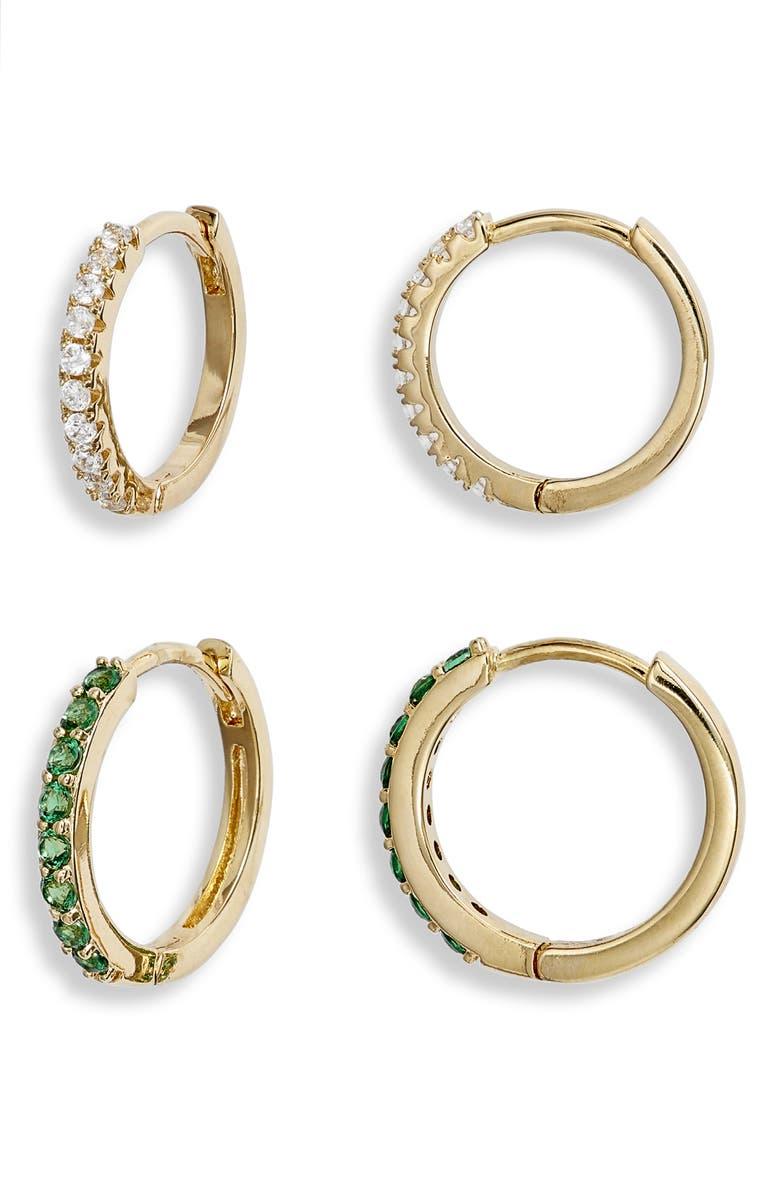 NORDSTROM Set of 2 Pavé Huggie Hoop Earrings, Main, color, CLEAR- GREEN- GOLD