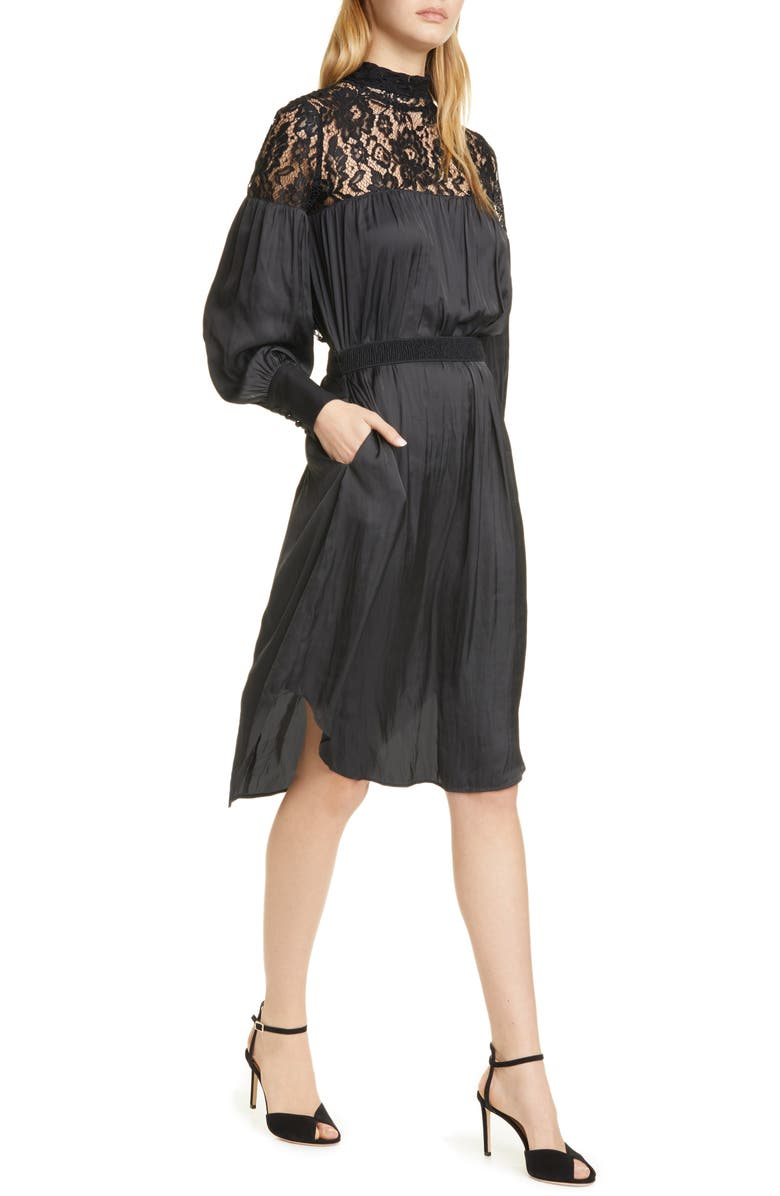 SMYTHE Lace Panel Long Sleeve Dress, Main, color, BLACK