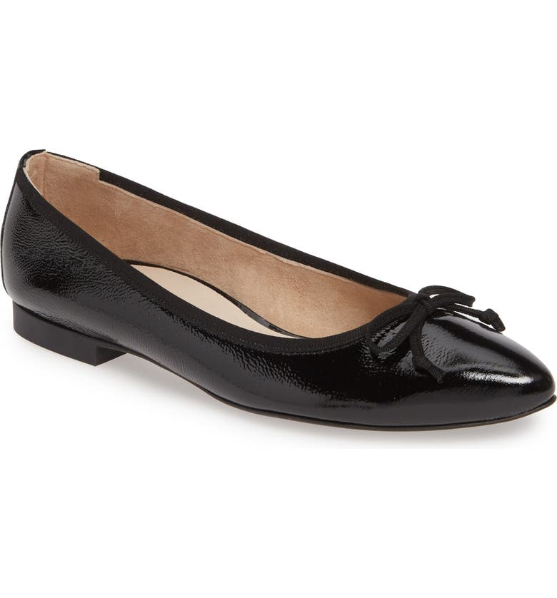 PAUL GREEN Andre Pointy Toe Ballet Flat, Main, color, BLACK CRINKLED PATENT