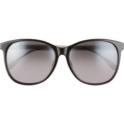 Maui Jim Isola 5m Polarizedplus2 Cat Eye Sunglasses - Black/ Transparent Light Grey