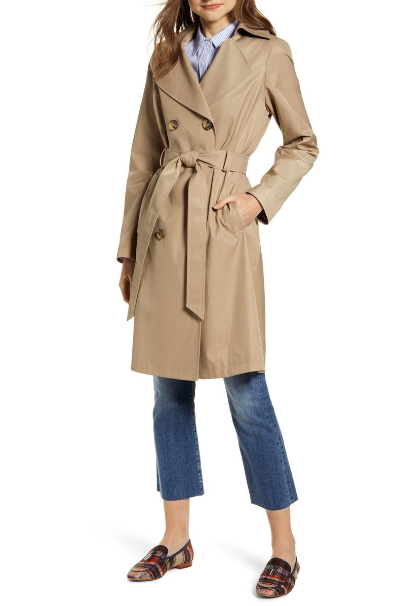 SAM EDELMAN Double Breasted Trench Coat, Main, color, BEIGE