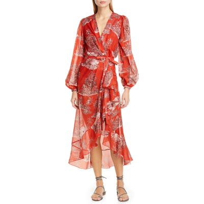 Johanna Ortiz Toile Palm Print Long Sleeve Cover-Up Wrap, Orange