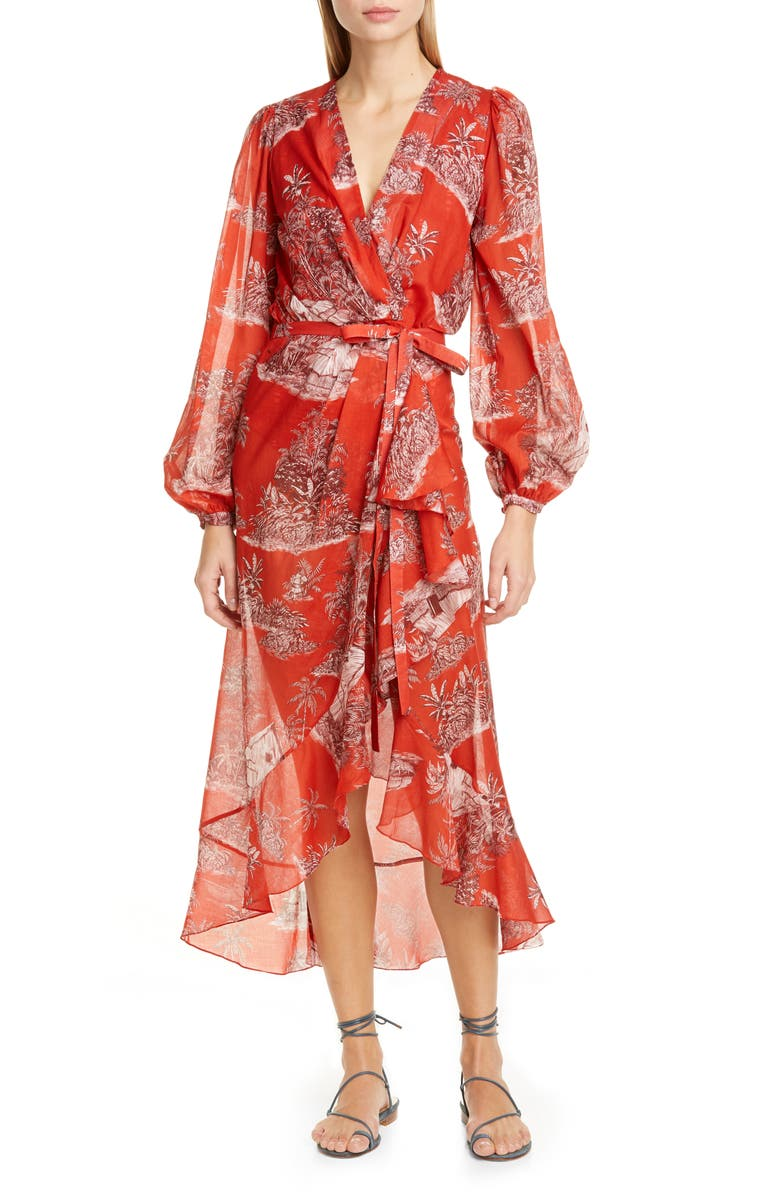 JOHANNA ORTIZ Toile Palm Print Long Sleeve Cover-Up Wrap, Main, color, CHILI PEPPER/ SANGRIA