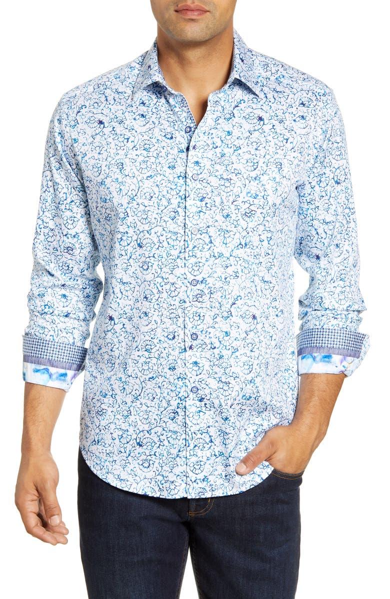 ROBERT GRAHAM Garland Regular Fit Floral Button-Up Sport Shirt, Main, color, 400