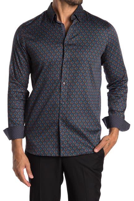 ted baker london glacee geometric print slim fit shirt nordstrom rack