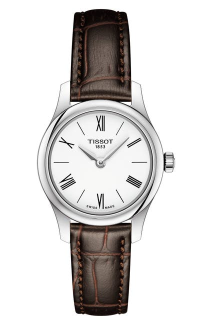 Image of Tissot Women's Tradition 5.5 Croc Embossed Leather Strap Watch, 25mm