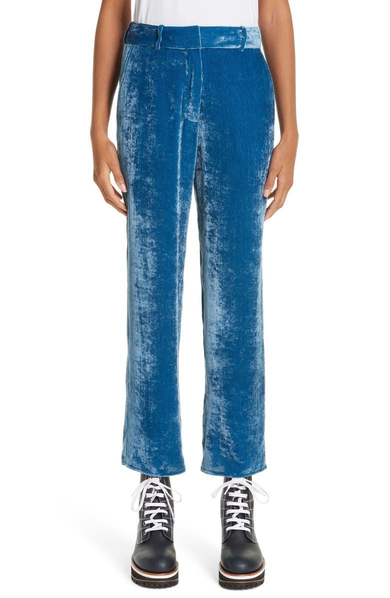 SIES MARJAN Fluid Silk Blend Corduroy Crop Pants, Main, color, 421