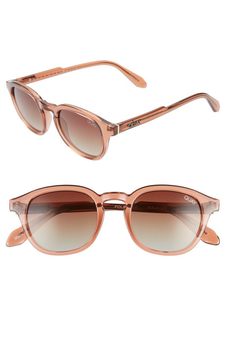 QUAY AUSTRALIA x AROD Walk On 47mm Polarized Sunglasses, Main, color, COFF/ BRNFD