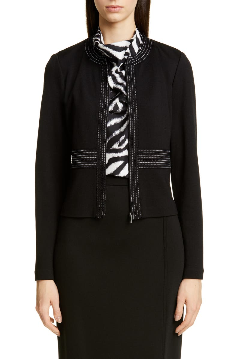 ST. JOHN COLLECTION Defined Topstitching Milano Knit Jacket, Main, color, CAVIAR